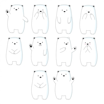 Estilo de dibujos animados lindo oso dibujado a mano