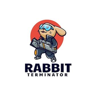 Estilo de dibujos animados de la mascota del conejo de la ilustración del logotipo del vector.