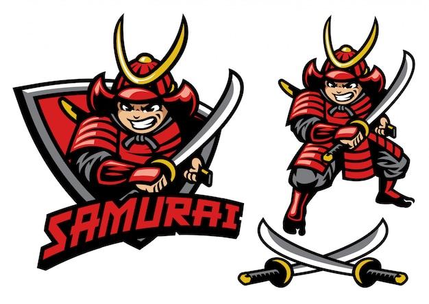 Estilo de dibujos animados de la mascota guerrera samurai