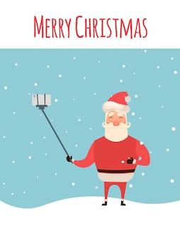 Estilo de dibujos animados santa claus haciendo selfie, vacaciones de navidad