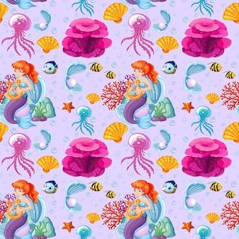 Estilo de dibujos animados de sirena y animales marinos sin costuras en púrpura