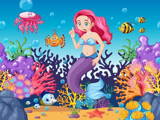 Estilo de dibujos animados de tema sirena y animal marino en el fondo del mar bajo