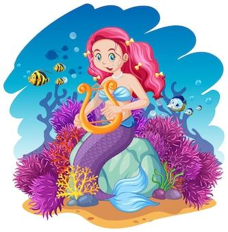 Estilo de dibujos animados de tema de sirena y animal marino en el fondo del mar