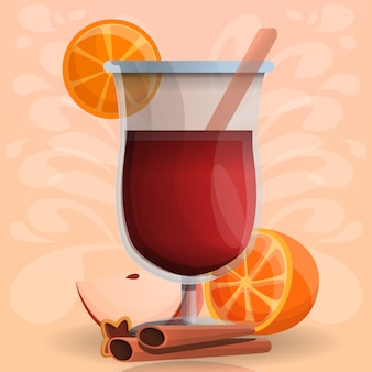 Estilo de dibujos animados de vino caliente