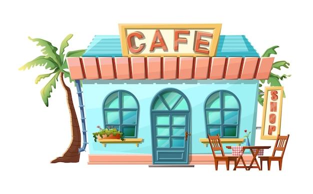 Estilo de dibujos animados de vista de la tienda de café. aislado con palmeras verdes, mesa de comedor y sillas.