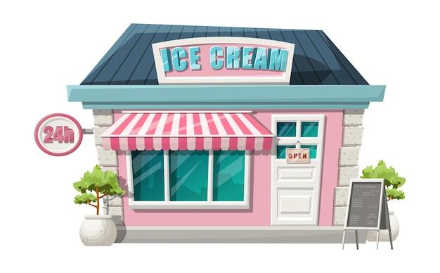Estilo de dibujos animados de la vista de la tienda de helado de café. aislado con arbustos verdes, cartel de 24 horas y soporte de menú.
