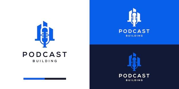 Estilo de diseño de logotipo de podcast con construcción de edificios
