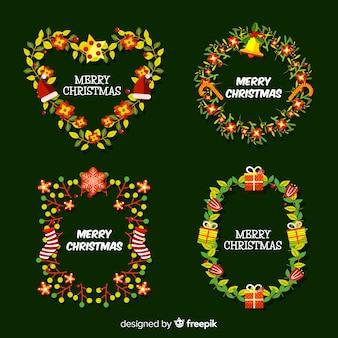 Estilo de diseño plano de colección de flores y guirnaldas de navidad