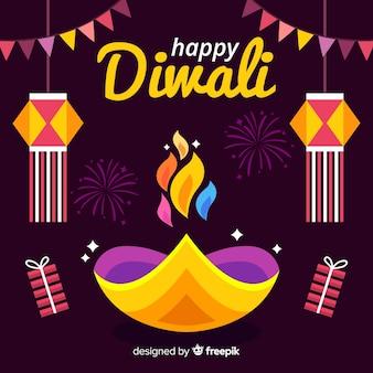Estilo de diseño plano de fondo de diwali