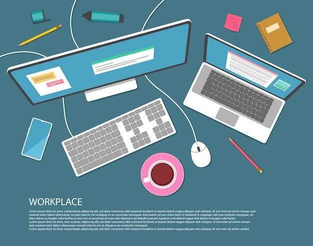 Estilo de diseño plano. trabajar en la computadora. vista superior del lugar de trabajo.