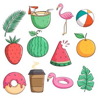 Estilo doodle de iconos o elementos de verano