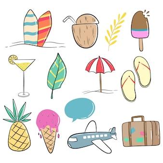 Estilo doodle de linda colección de verano sobre fondo blanco.