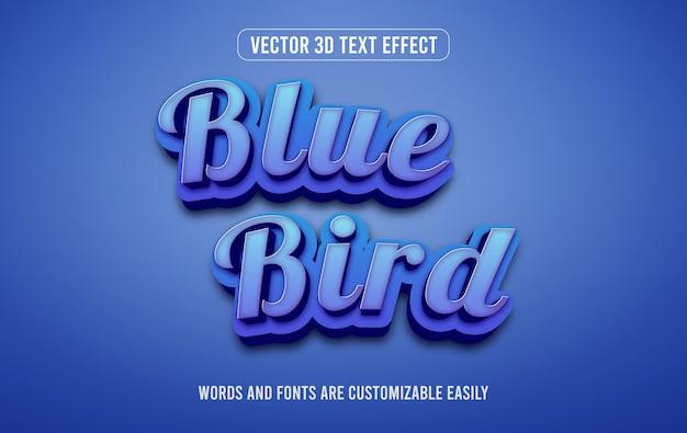 Estilo de efecto de texto editable 3d pájaro azul