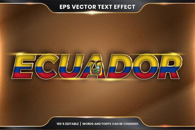 Estilo de efecto de texto editable - ecuador con su bandera nacional del país