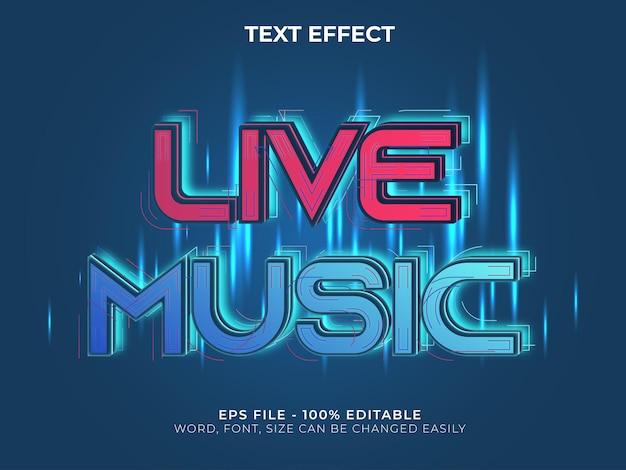 Estilo de efecto de texto de música en vivo efecto de texto editable