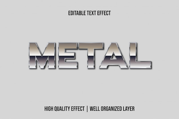 Estilo de efecto de texto de plata 3d de metal