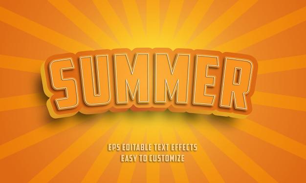Estilo de efectos de texto editables de verano 3d