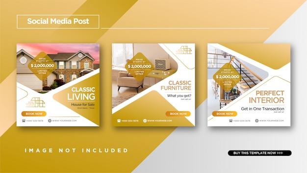 Estilo elegante de bienes raíces o venta de casas diseño de publicaciones de instagram