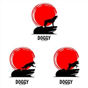 Estilo de espacio negativo de plantilla de logotipo de silueta de perro