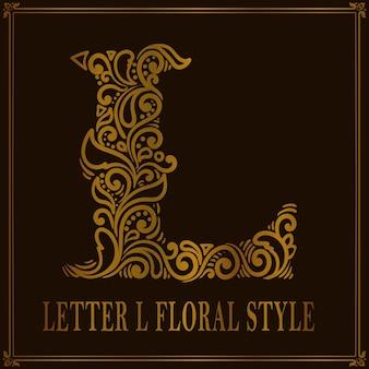 Estilo de estampado floral vintage letra l