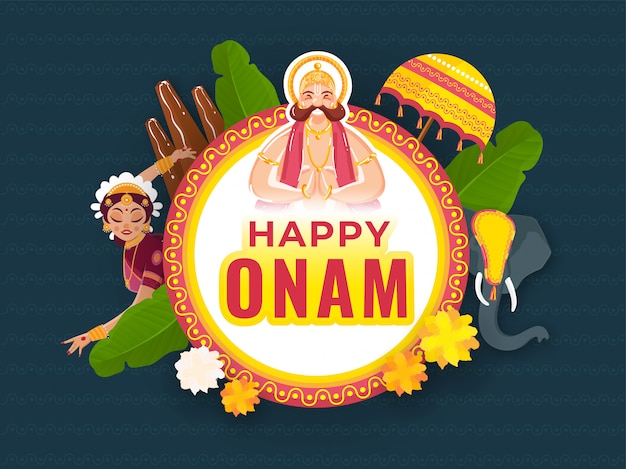 Estilo de etiqueta texto feliz de onam en marco circular con el rey mahabali haciendo namaste, thrikkakara appan idol, hojas de plátano, elefante y flores.