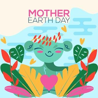 Estilo de evento de día internacional de la madre tierra de diseño plano