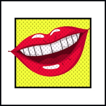 Estilo femenino del arte pop de la boca