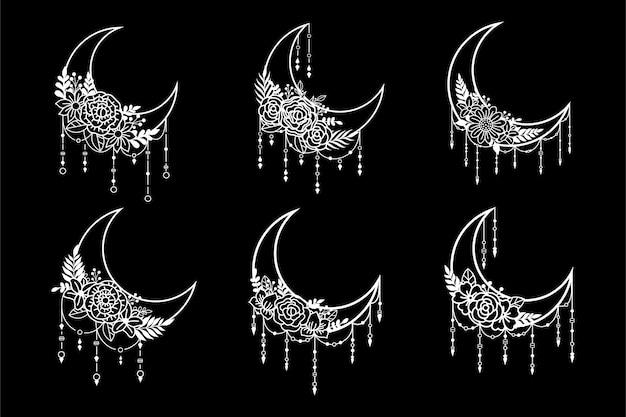 Estilo floral de luna creciente, colección de elementos de decoración de luna