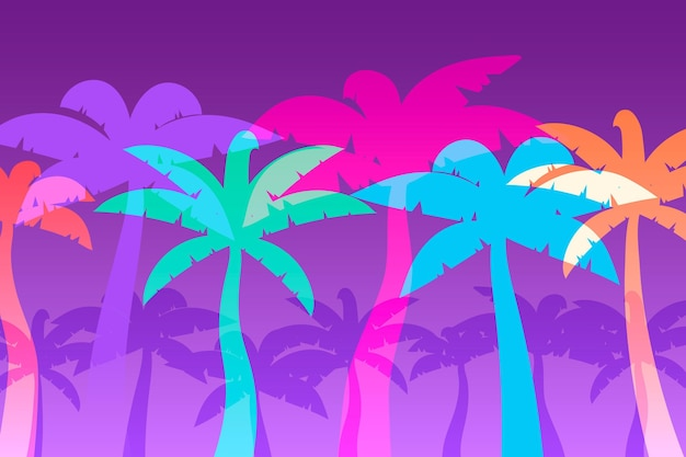 Estilo de fondo de coloridas siluetas de palmeras