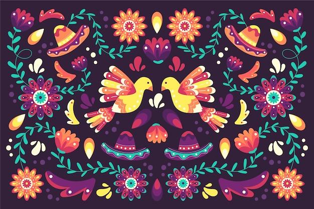 Estilo de fondo mexicano colorido