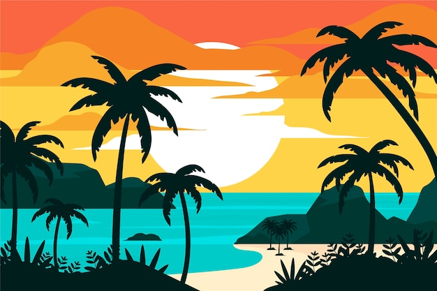 Estilo de fondo de siluetas de palmeras