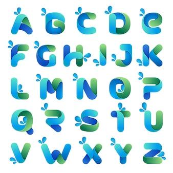 Estilo de fuente, alfabeto con tema eco, agua y naturaleza.