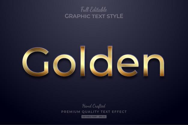 Estilo de fuente de efecto de texto editable elegante dorado