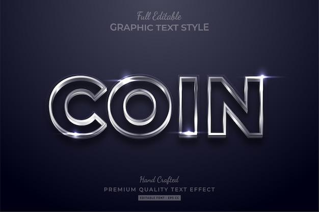 Estilo de fuente de efecto de texto editable de moneda de plata brillante