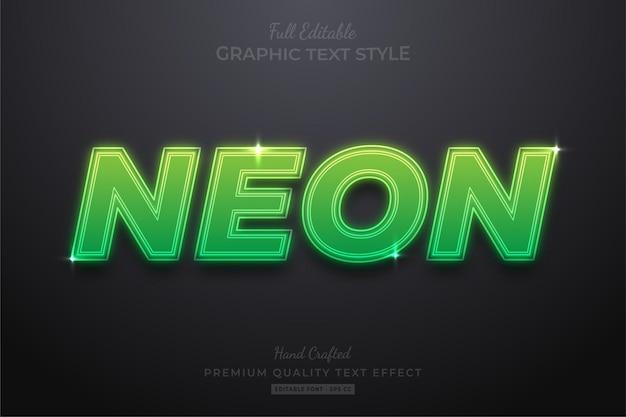 Estilo de fuente de efecto de texto editable verde neón