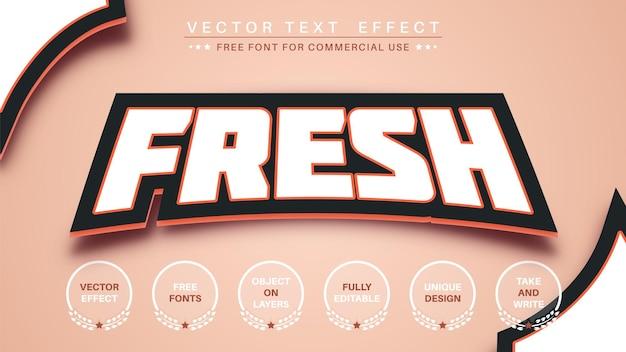 Estilo de fuente de efecto de texto de etiqueta fresca