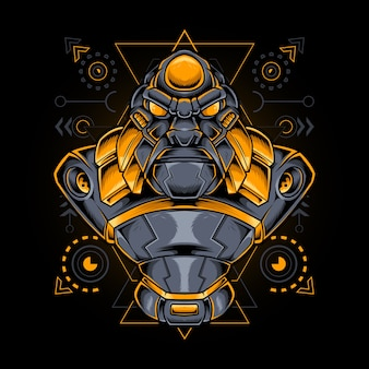 Estilo gorila mecha cyborg con geometría sagrada