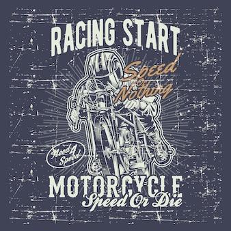 Estilo grunge vintage motorcycle racing con letras