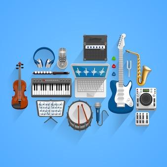 Estilo de herramientas musicales vectoriales. icono de arte de ilustración