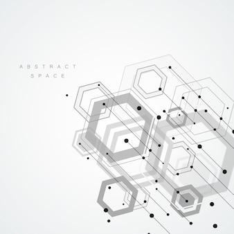 Estilo hexagonal de tecnología y fondo geométrico