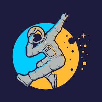 Estilo hip hop lindo astronauta aislado en azul