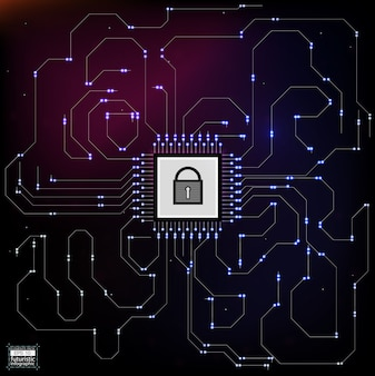 Estilo de hud en la ilustración de seguridad de red.