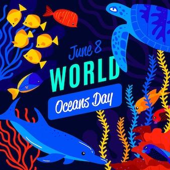 Estilo de ilustración del día mundial de los océanos