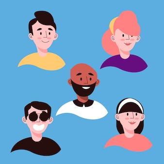 Estilo ilustrado de avatares de personas