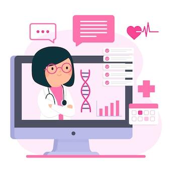 Estilo ilustrado de doctores en línea