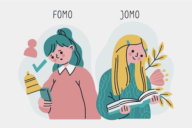 Estilo ilustrado de fomo vs jomo