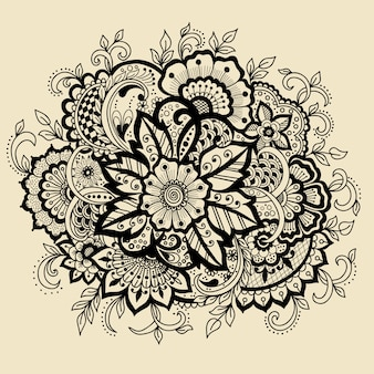 Estilo indio tradicional, elementos florales ornamentales para tatuaje de henna,