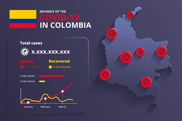 Estilo de infografía del mapa del país de coronavirus