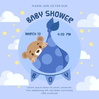 Estilo de invitación para baby shower de niño