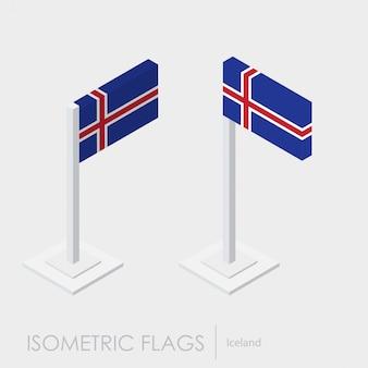 Estilo isométrico 3d de la bandera de islandia